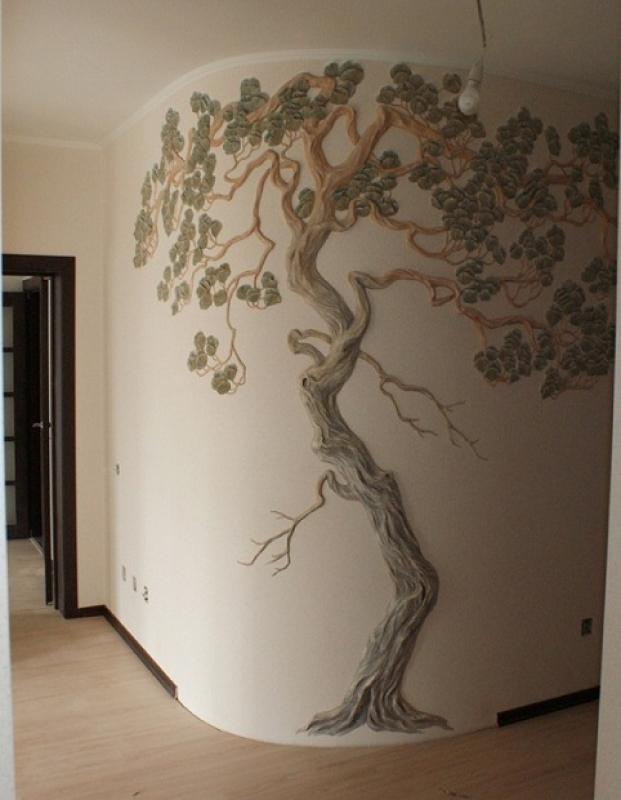Как сделать дерево на стене из гипса своими руками