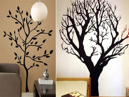 Рисунки деревьев на стене в квартире своими руками 61