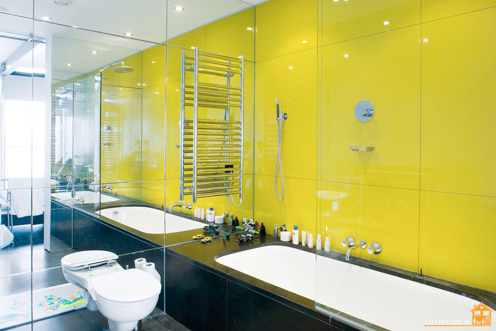 Желтая ванная комната дизайн модная плитка