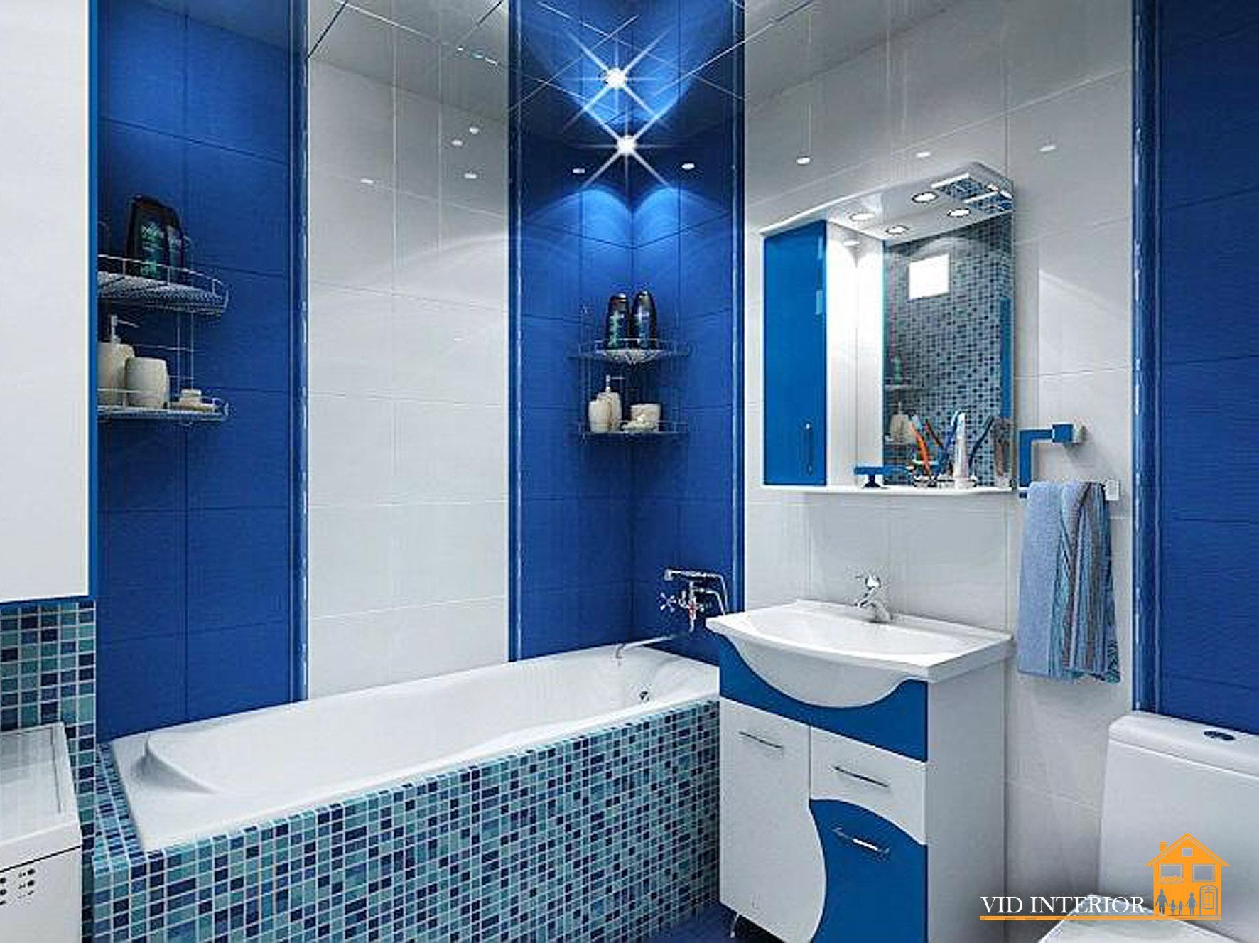 Дизайн ванн синего цвета с белым