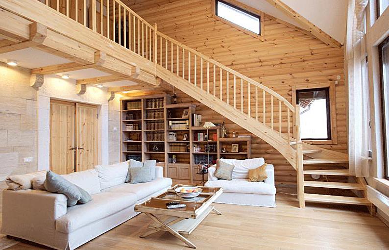 Интерьер двухэтажного деревянного дома фото