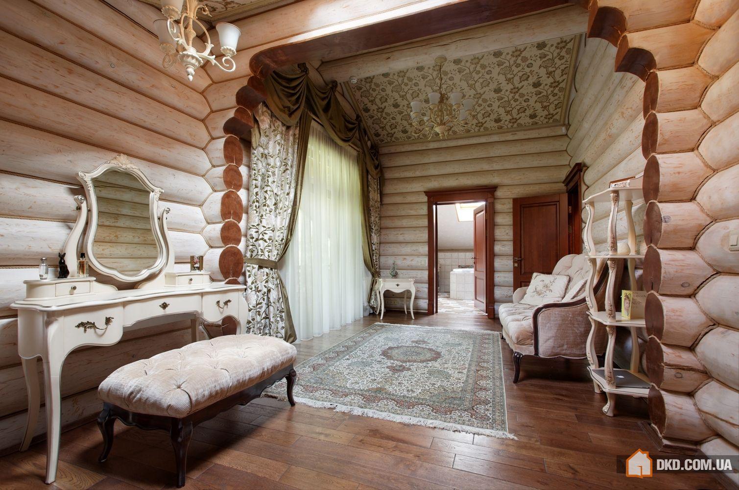 Интерьеры домов из оцилиндрованного бревна