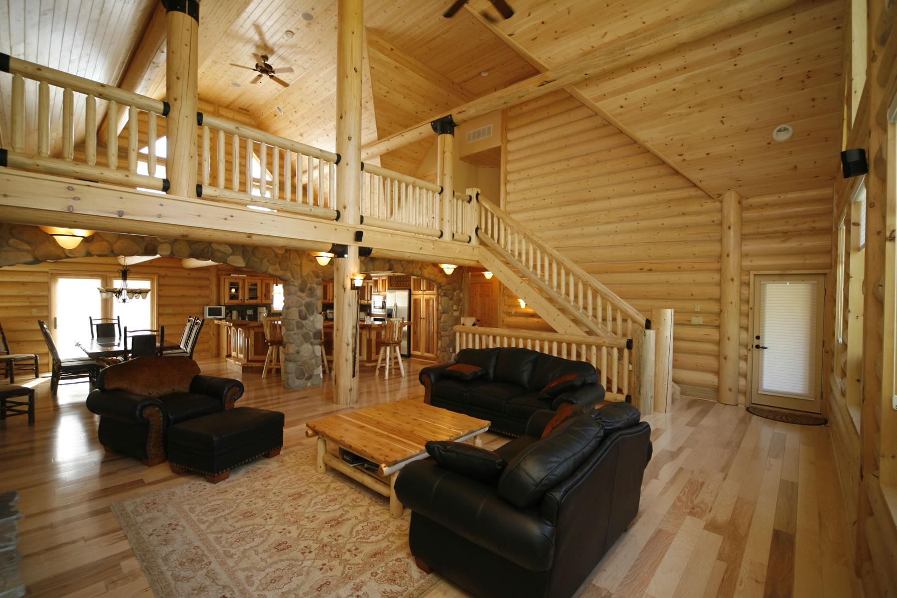 Дизайн интерьера деревянного дома внутри