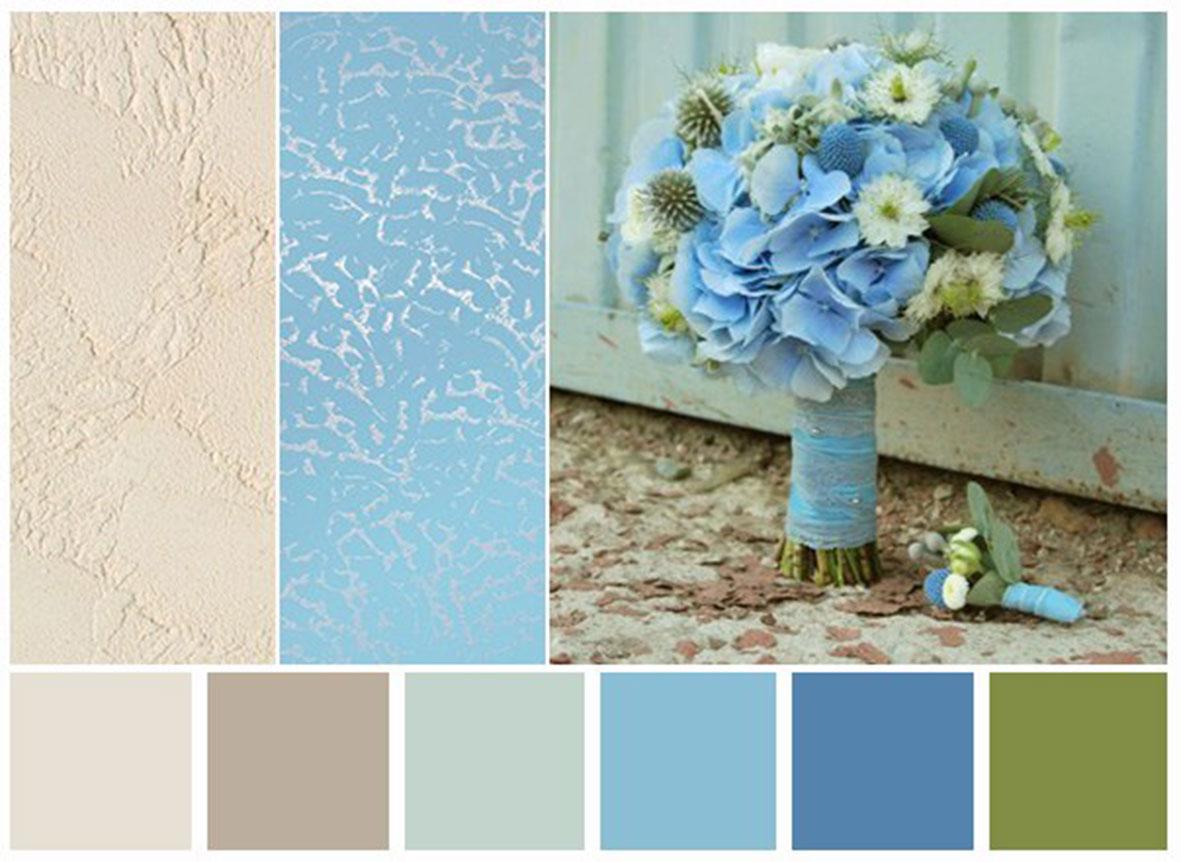 Какой цвет сочетается с голубым в интерьере спальни фото
