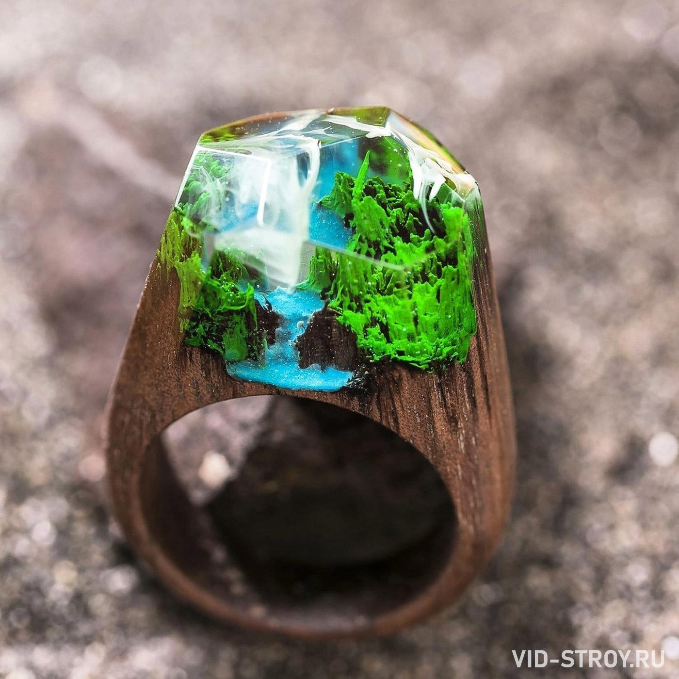 деревянное кольцо и эпоксидной смолы