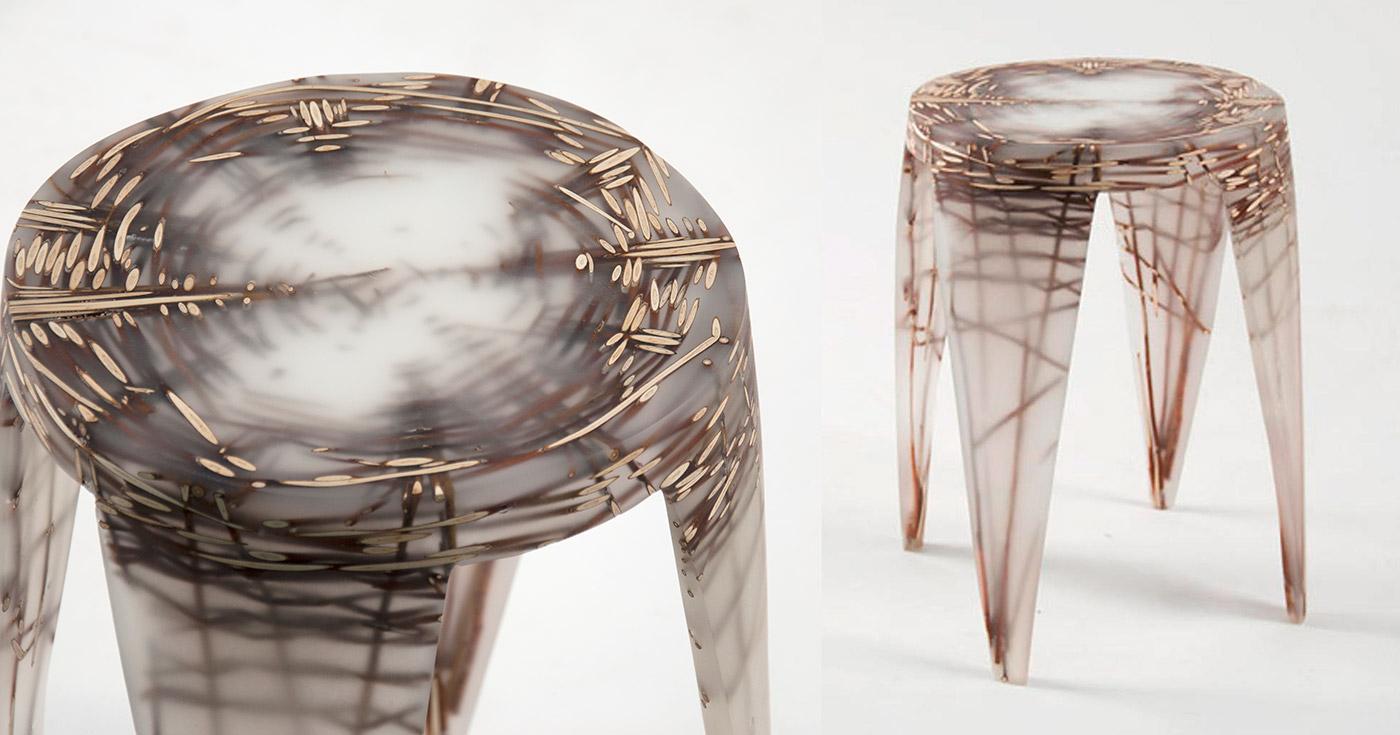 стулья из смолы и веток