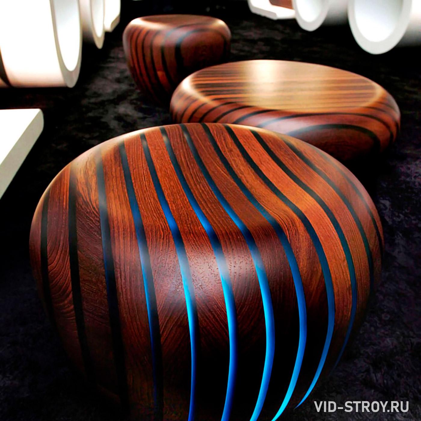 обувной стул из дерева и эпоксидной смолы