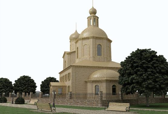 Дизайн фасада деревянной часовни