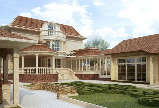 Дизайн фасада дома из травертина