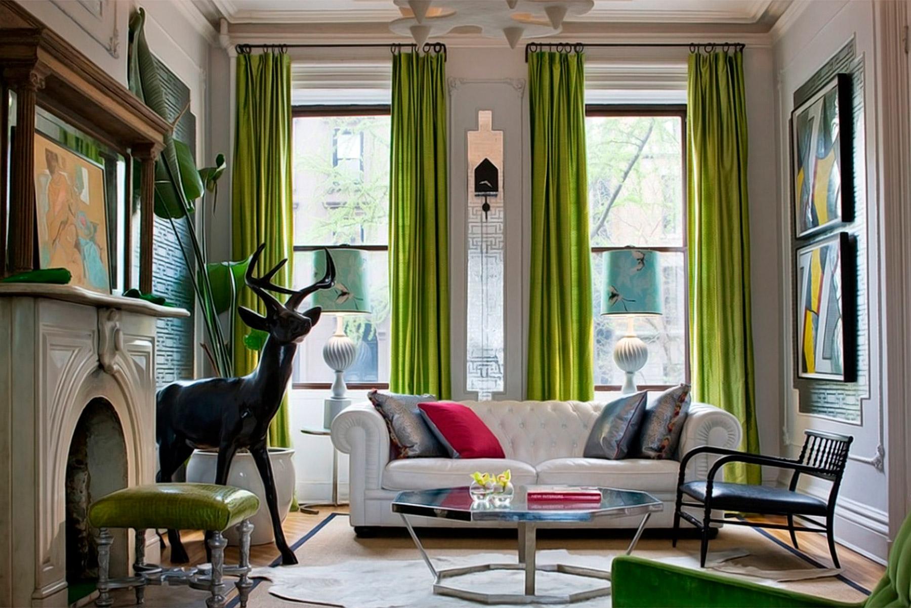 зеленые шторы светлые стены