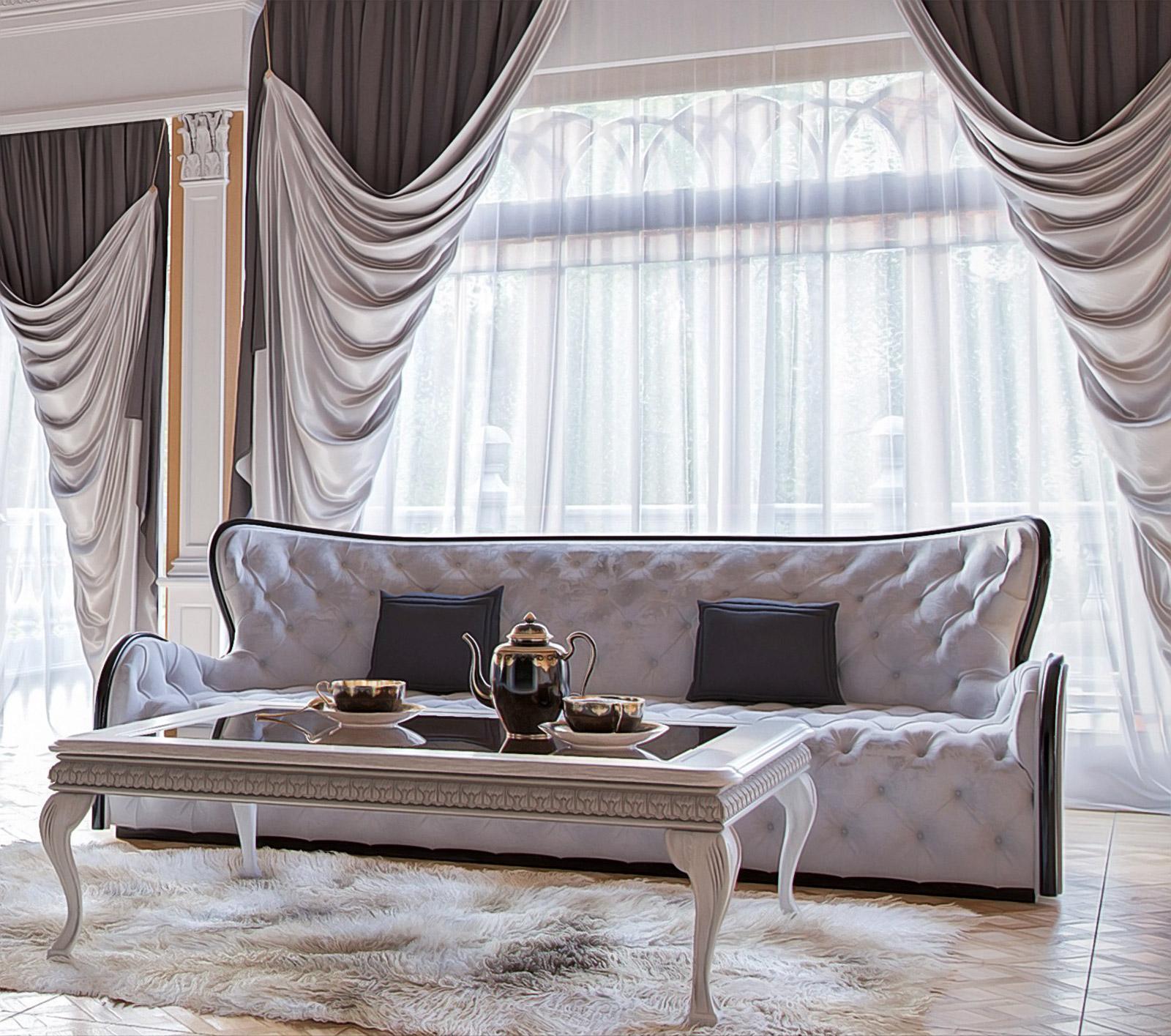 классические шторы с отворотом
