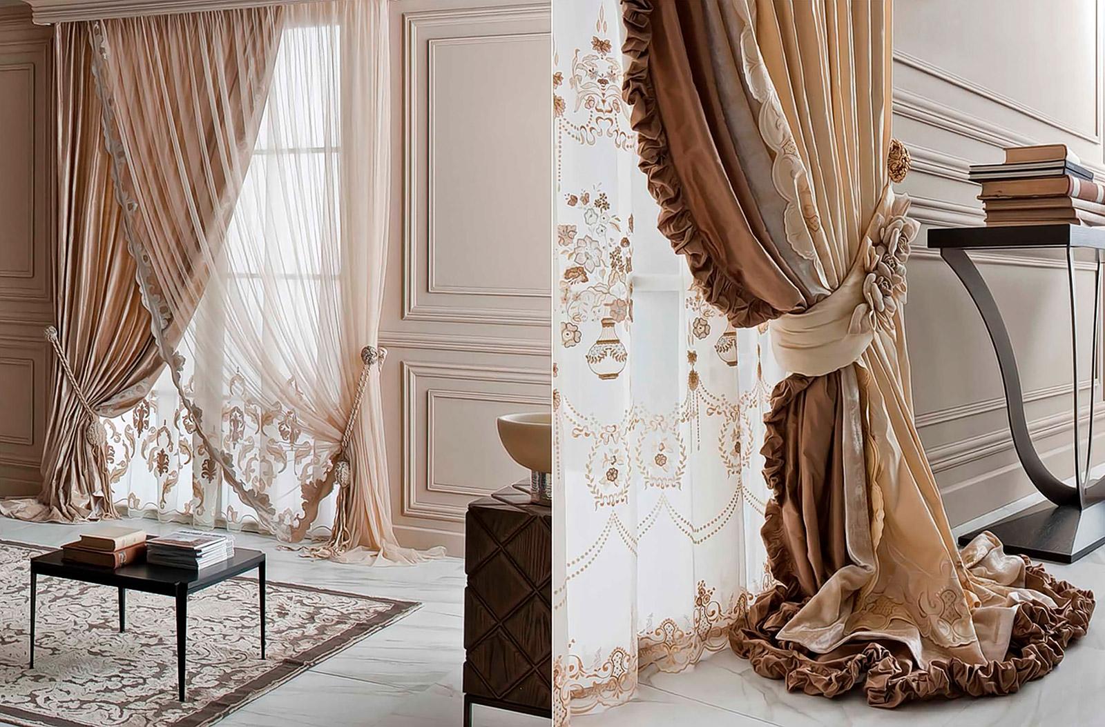 классические шторы с рюшками