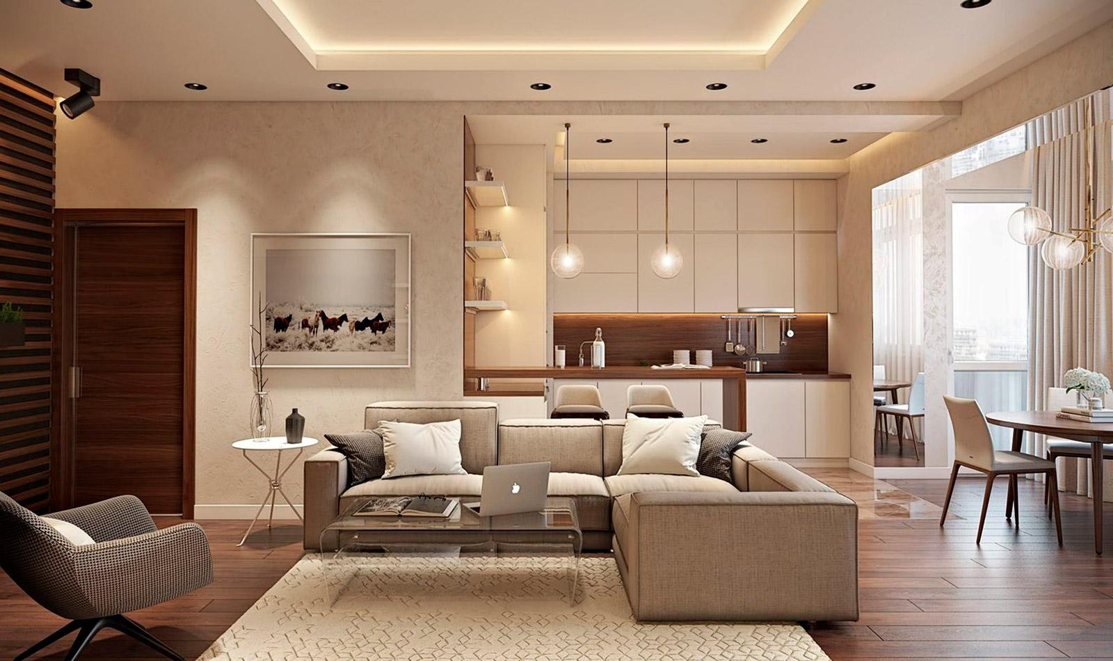 точечное освещение гостиной