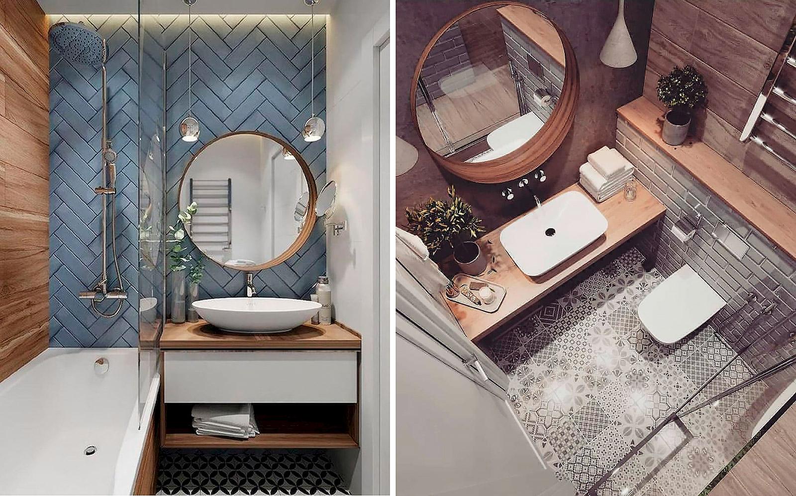 интерьер современной маленькой ванны