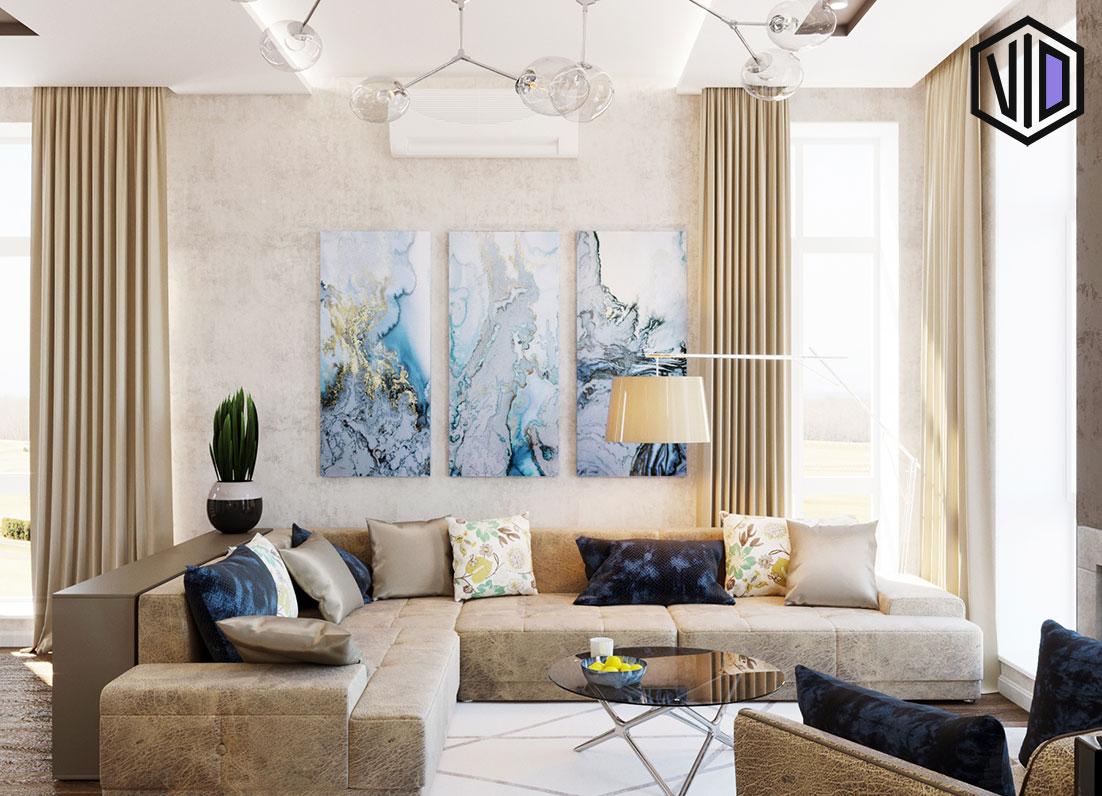 Дизайн проект интерьера гостиной комнаты