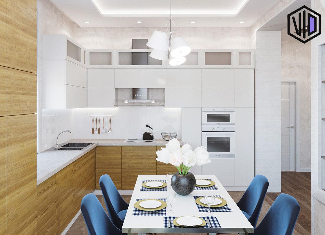 интерьер современной кухни дома за городом