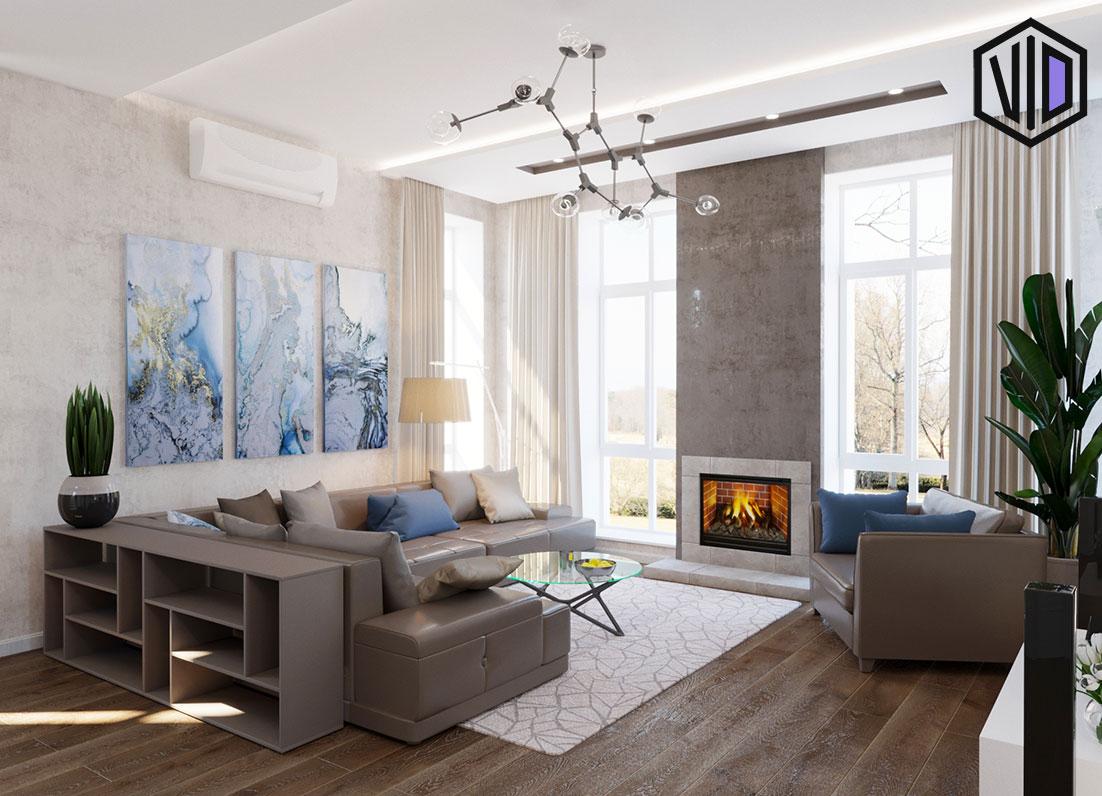 Дизайн гостиной двухэтажного дома