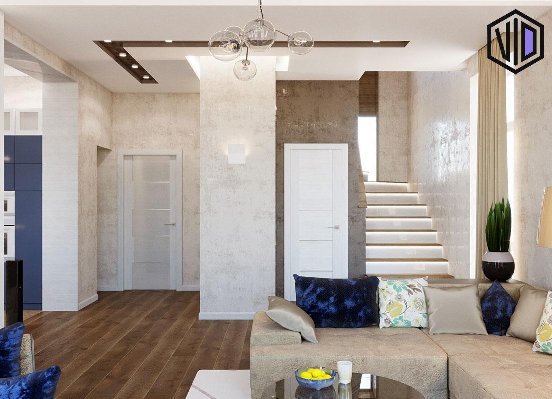 Дизайн современной гостиной комнаты в частном доме