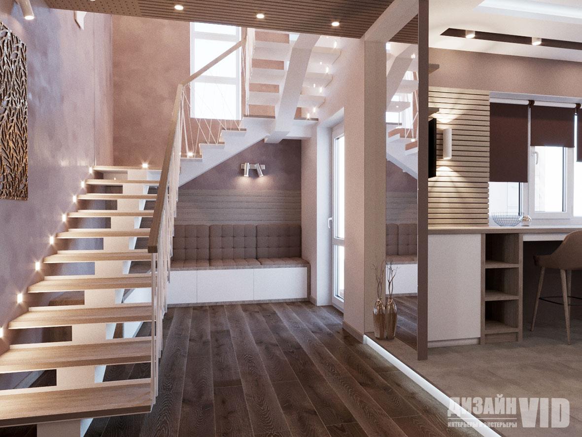 дизайн современного коридора с лестницей