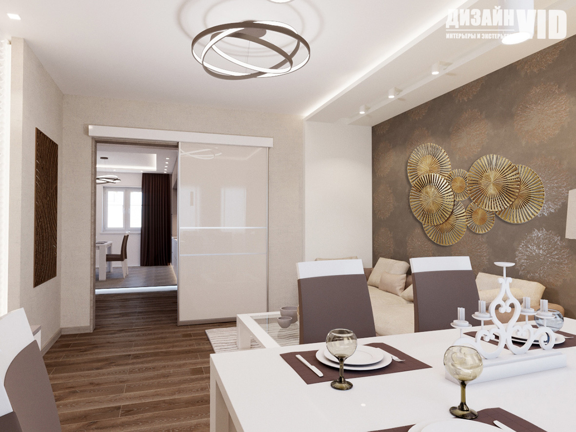 Дизайн гостиной со сдвижной дверью