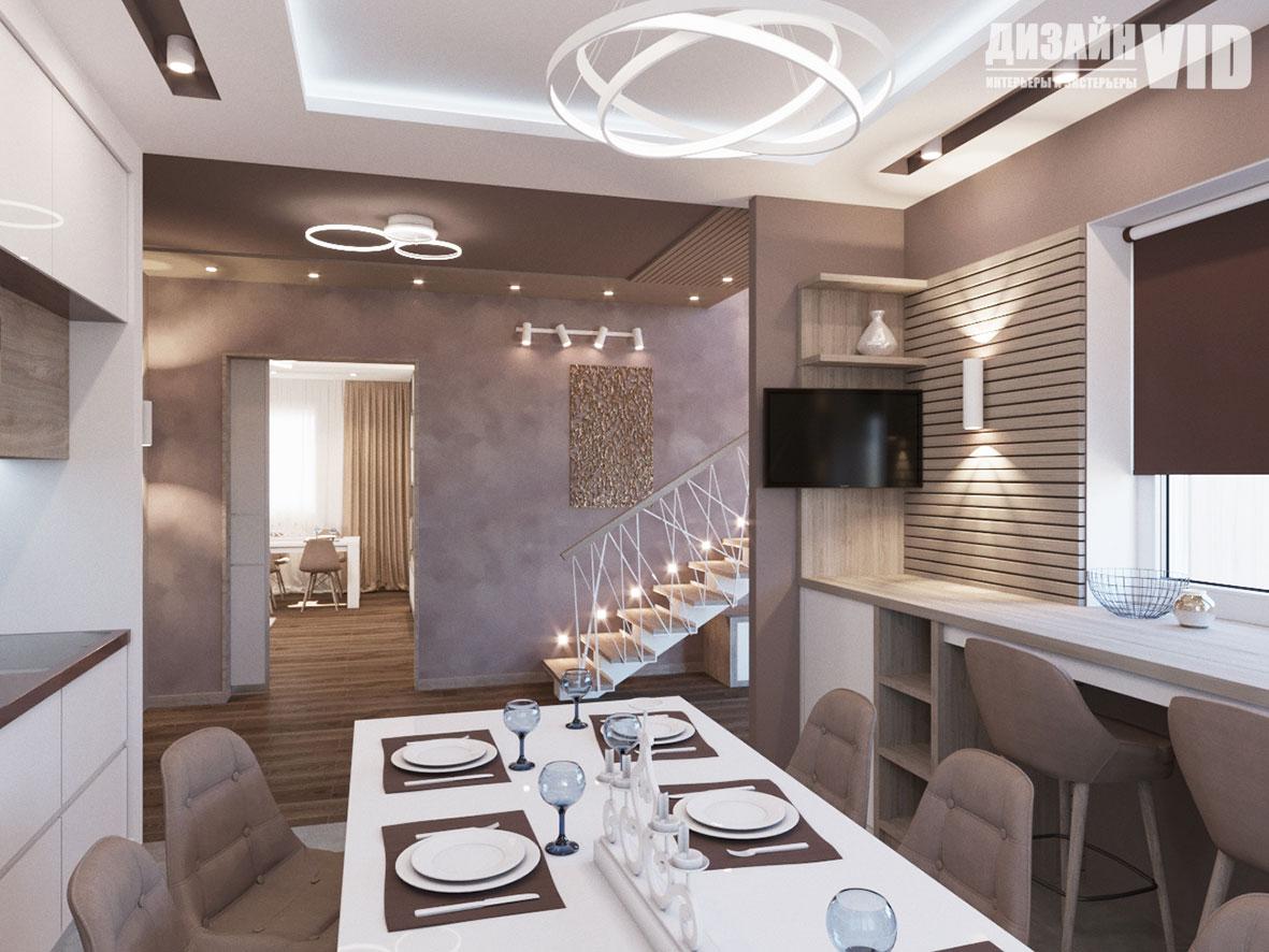 Дизайн кухни в пурпурных тонах