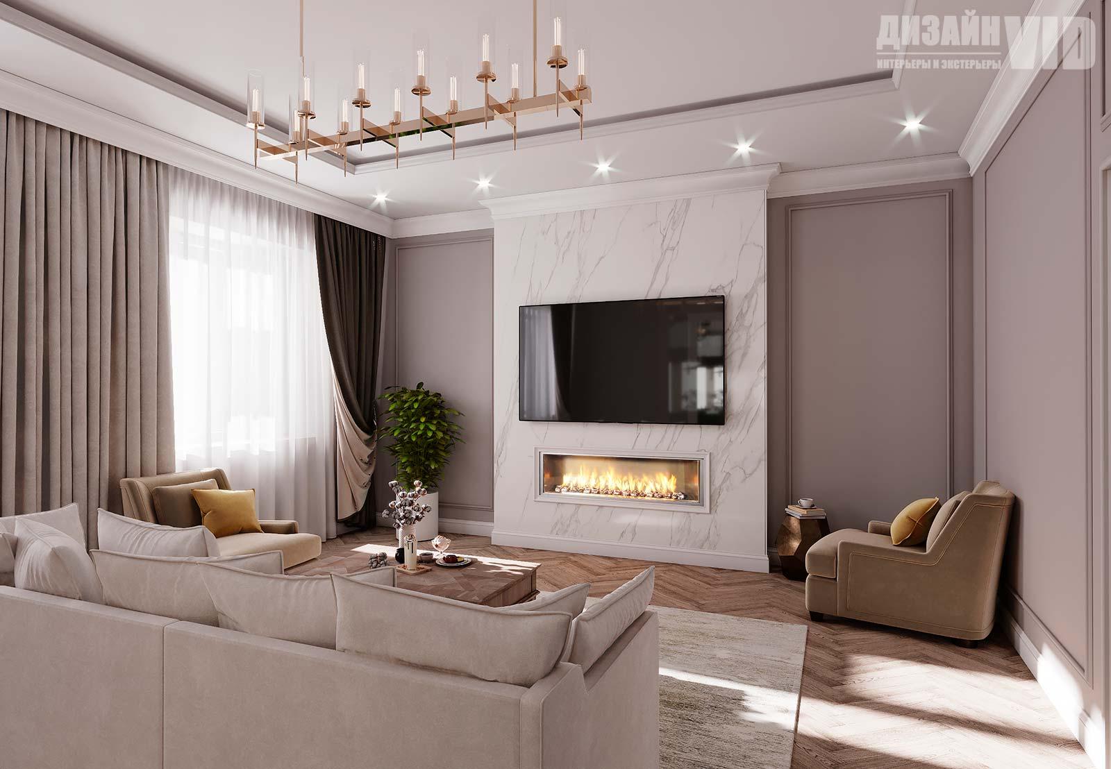 дизайн просторной гостиной частного дома