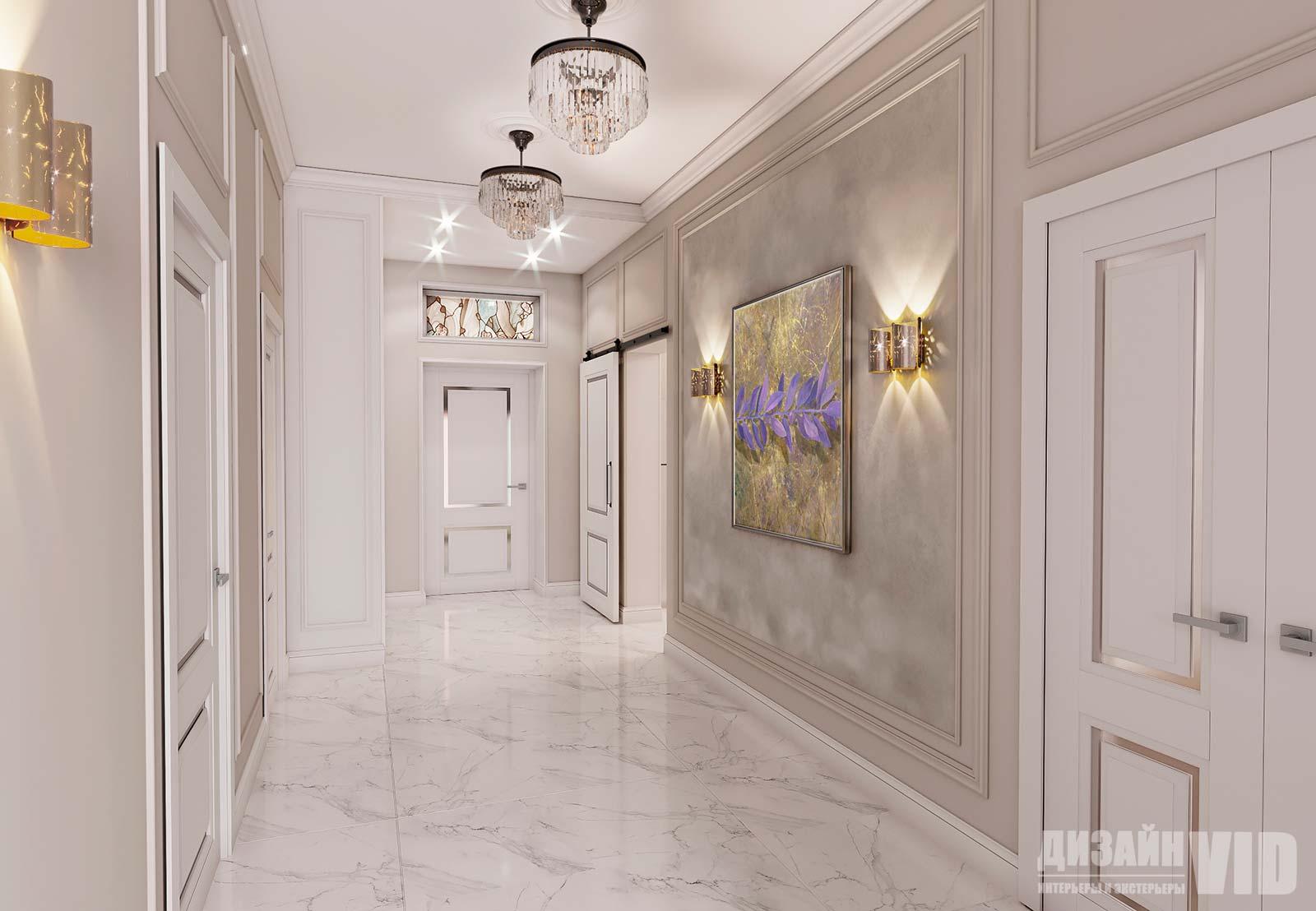 дизайн длинного коридора в неоклассике