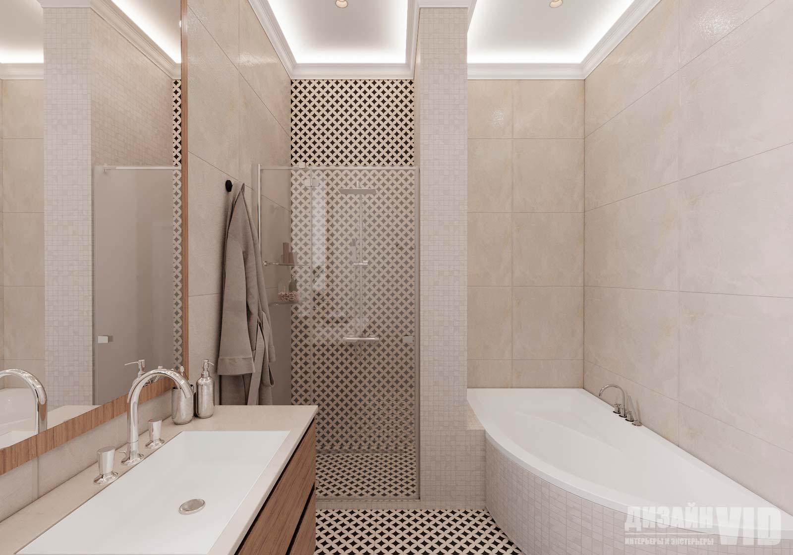 встроенная душевая в дизайне ванной комнаты