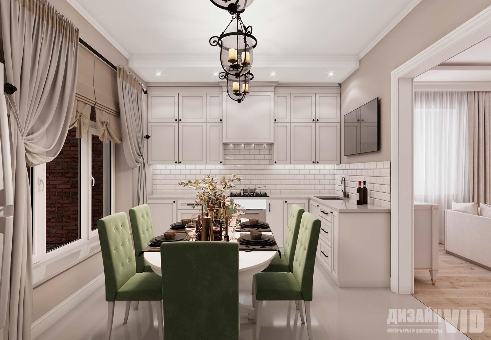 дизайн классической кухни в пастельных тонах