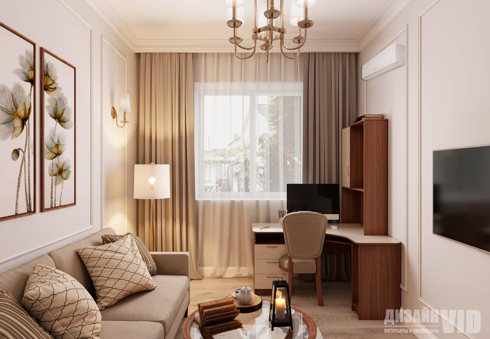 теплые оттенки в интерьере гостевой частного дома