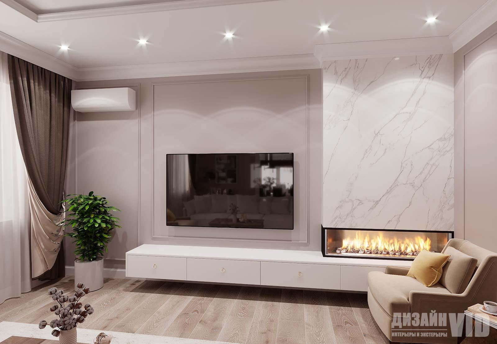 дизайн телевизионной зоны гостиной