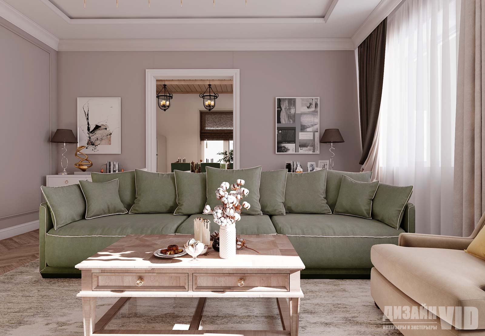 дизайн зала в классическом частном доме