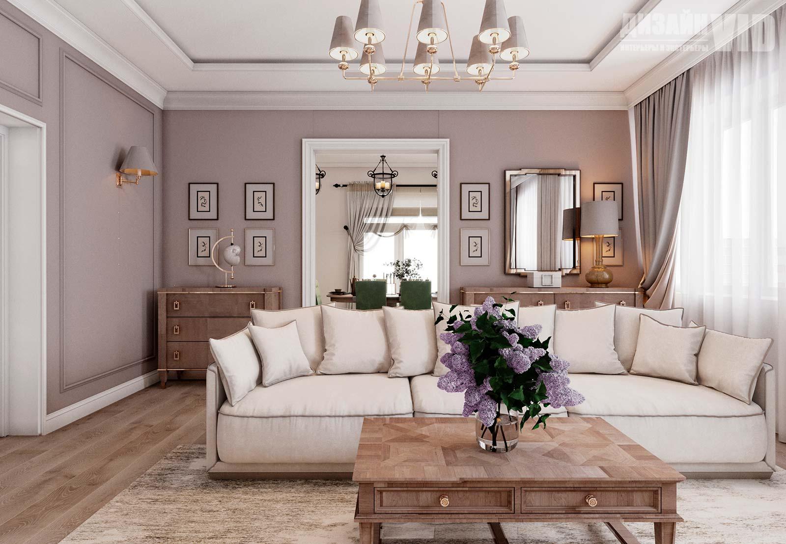 диван в центре классической гостиной
