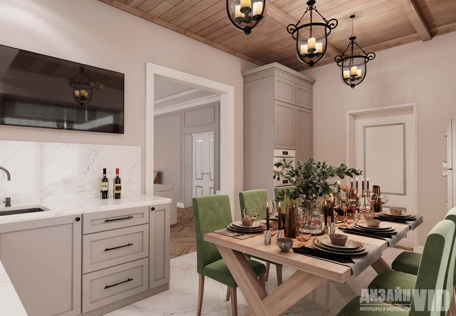 деревянный потолок  на кухне с элементами классического стиля