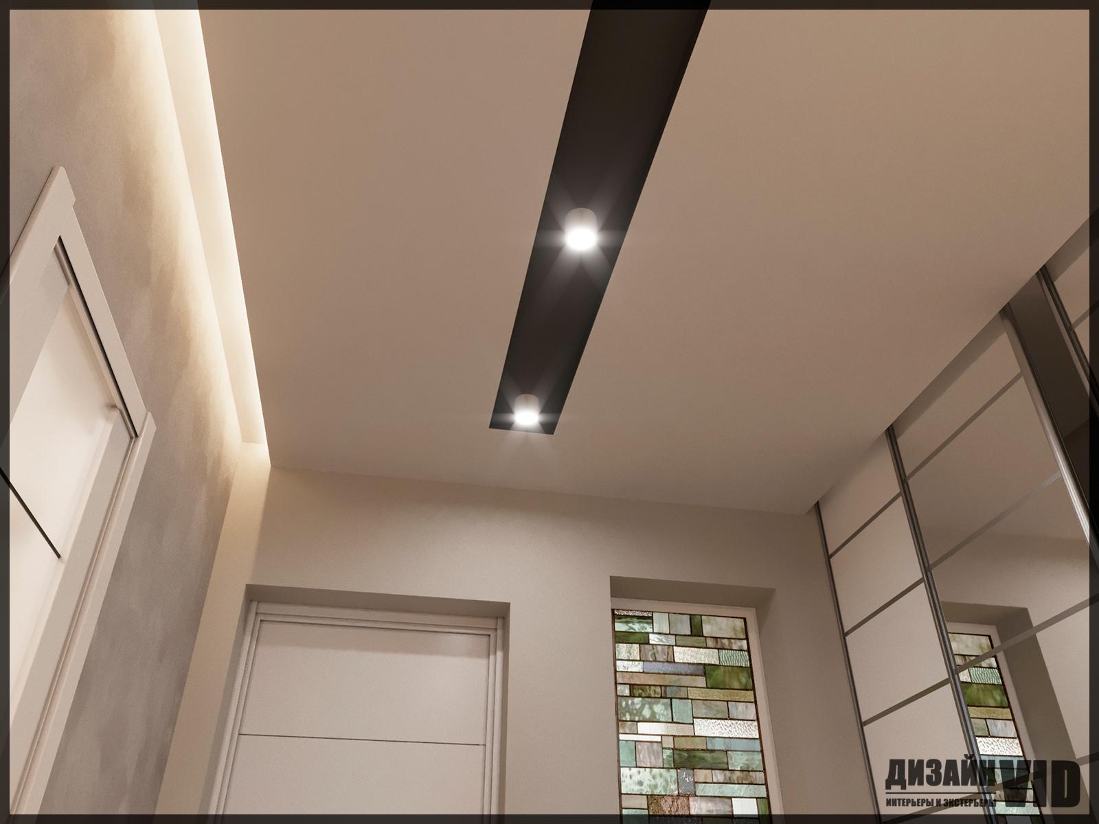 современный потолок в коридоре