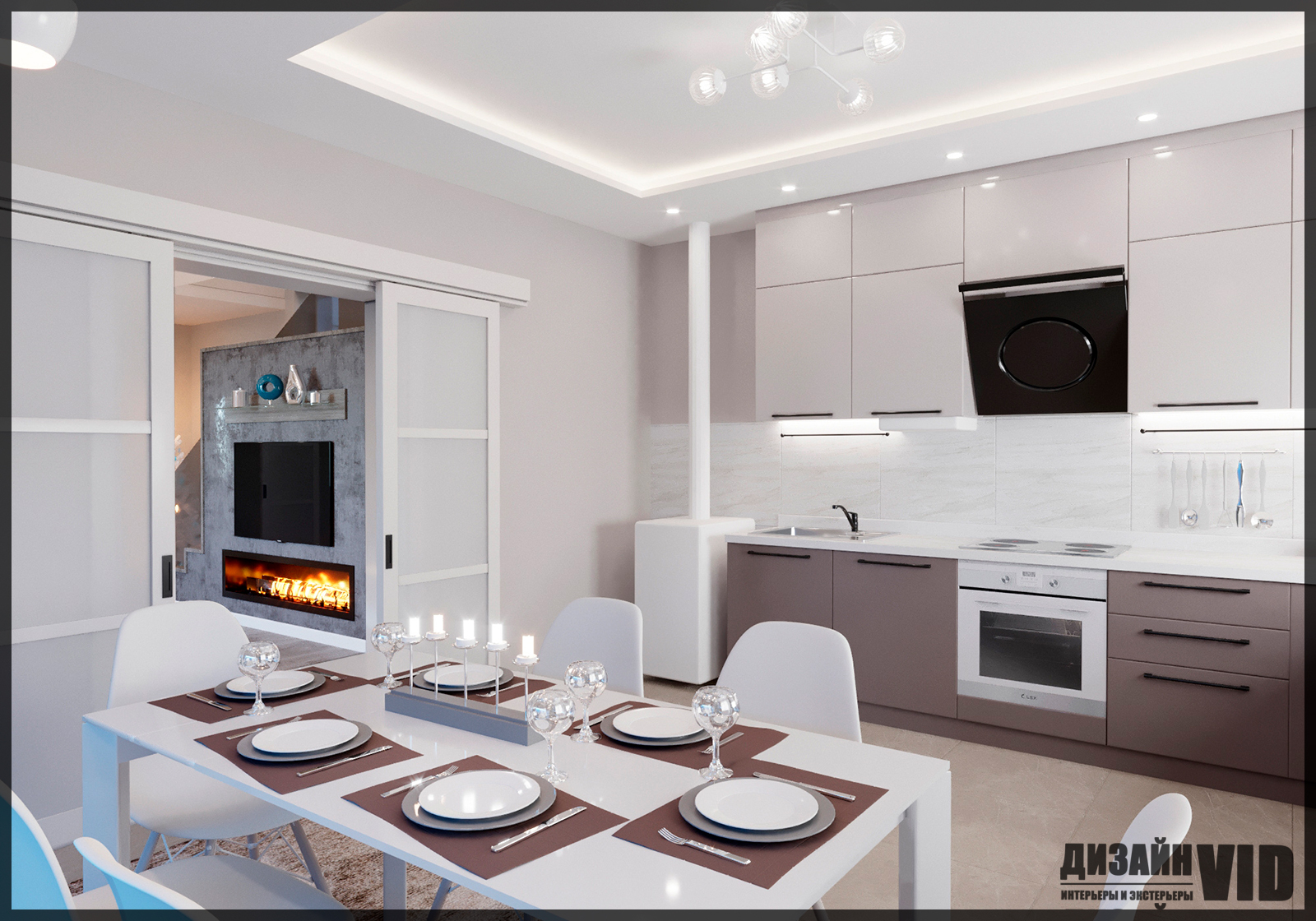 дизайн просторной кухни в доме