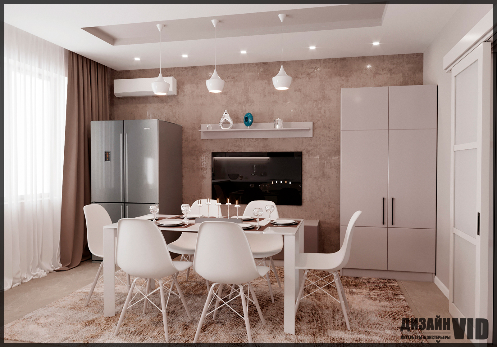 дизайн зоны стола в кухне
