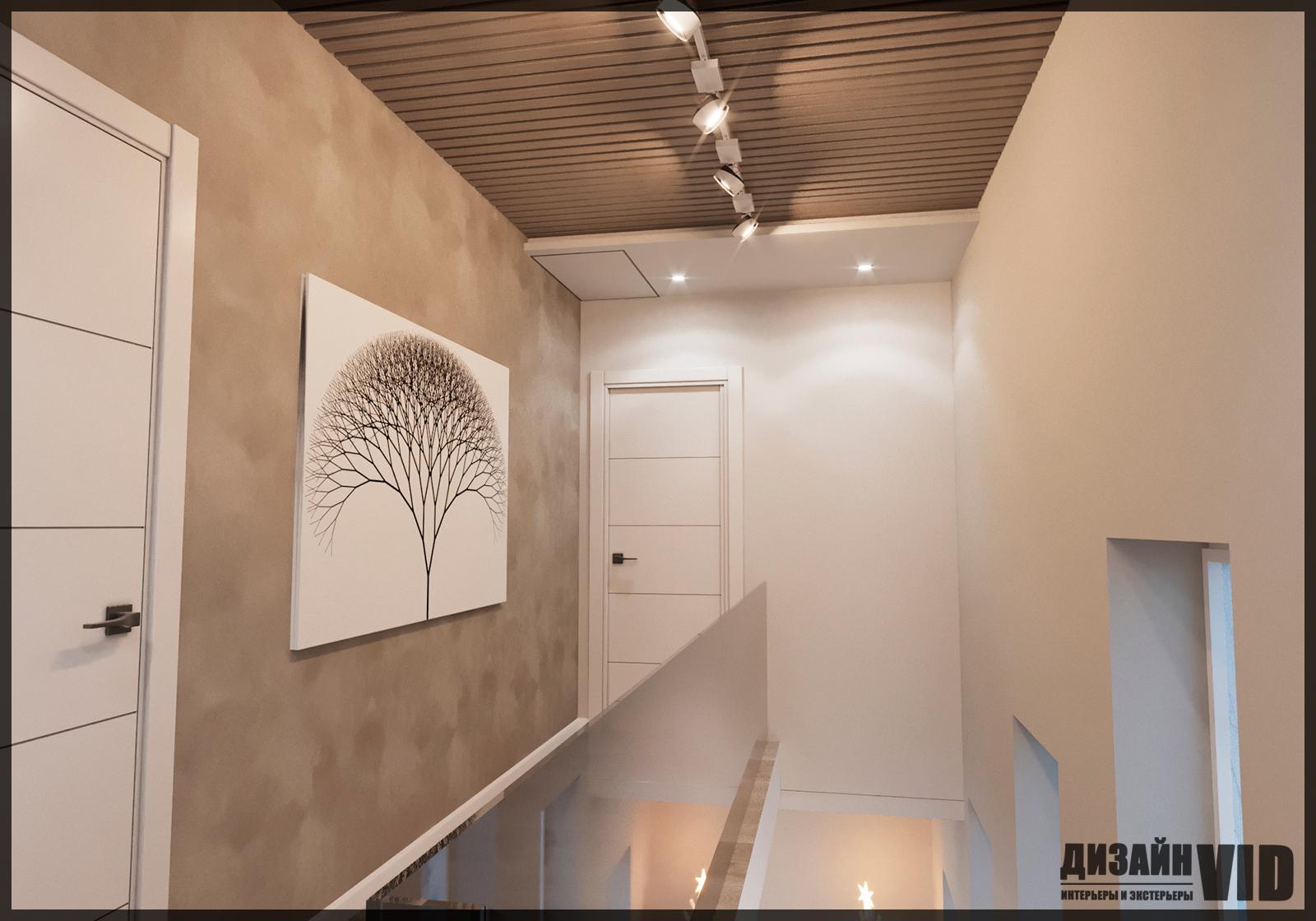 дизайн современного потолка над лестницей в доме