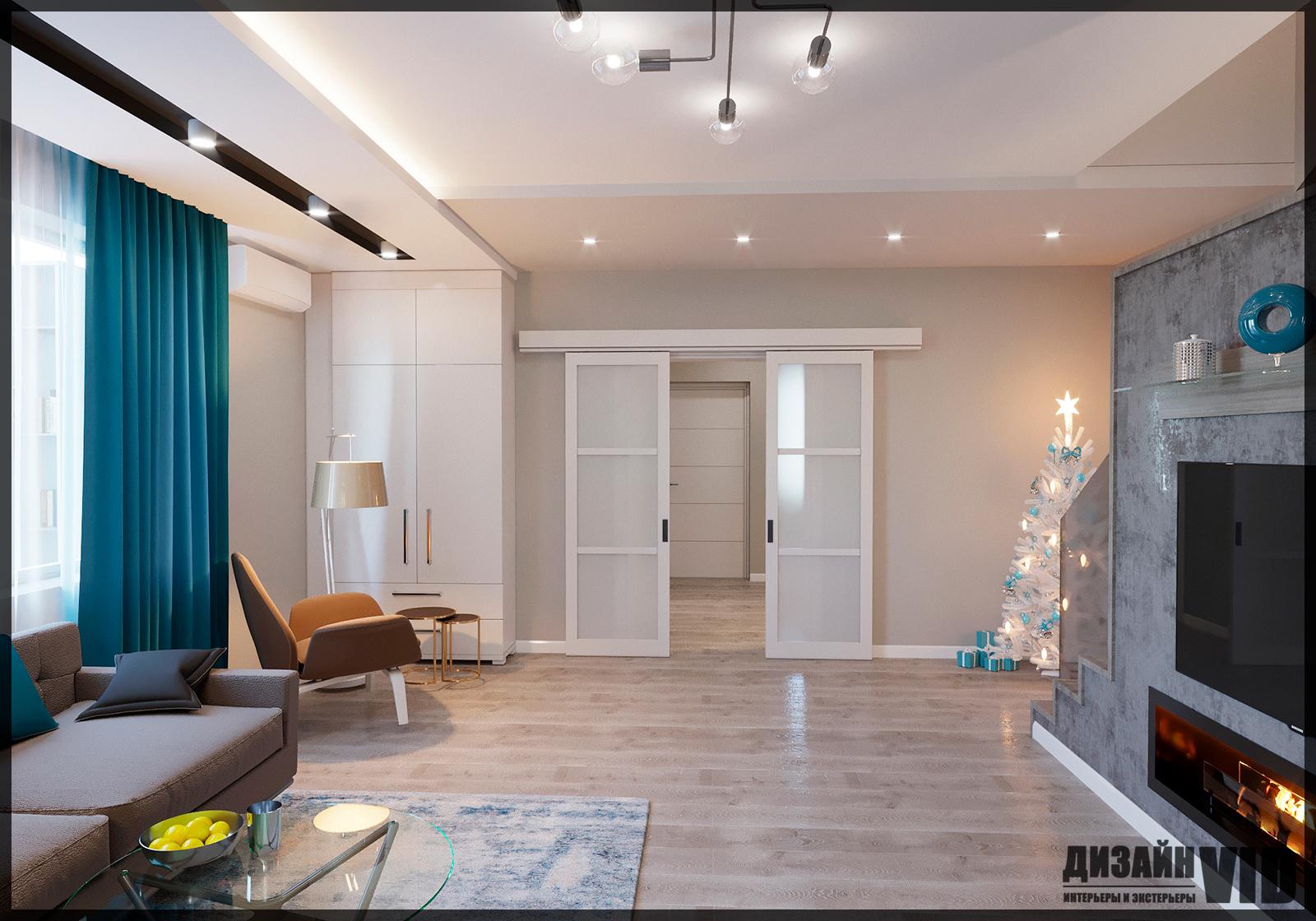 Дизайн просторной гостиной в доме