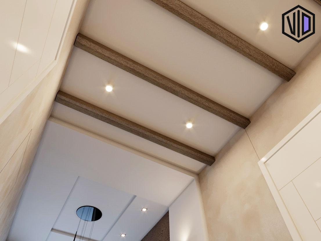 дизайн потолка с декоративными балками