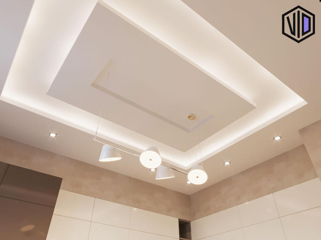 Дизайн потолка в кухни