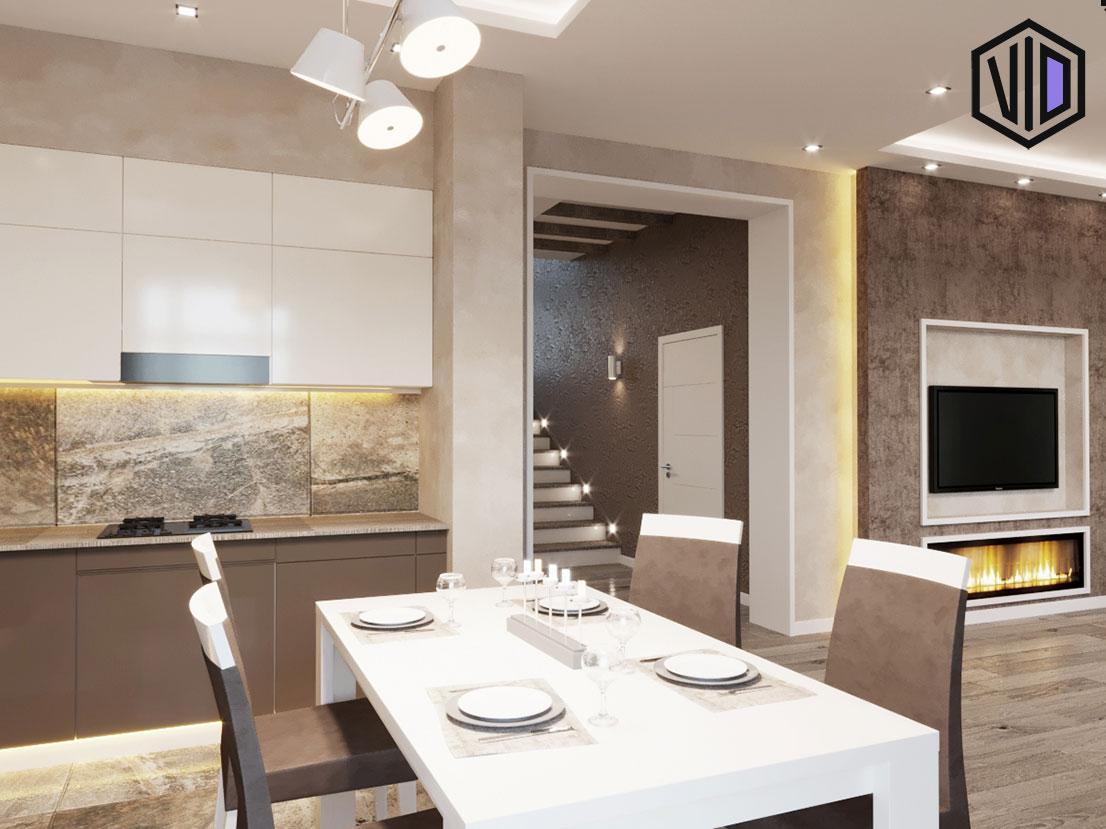 зона кухни в интерьере гостиной