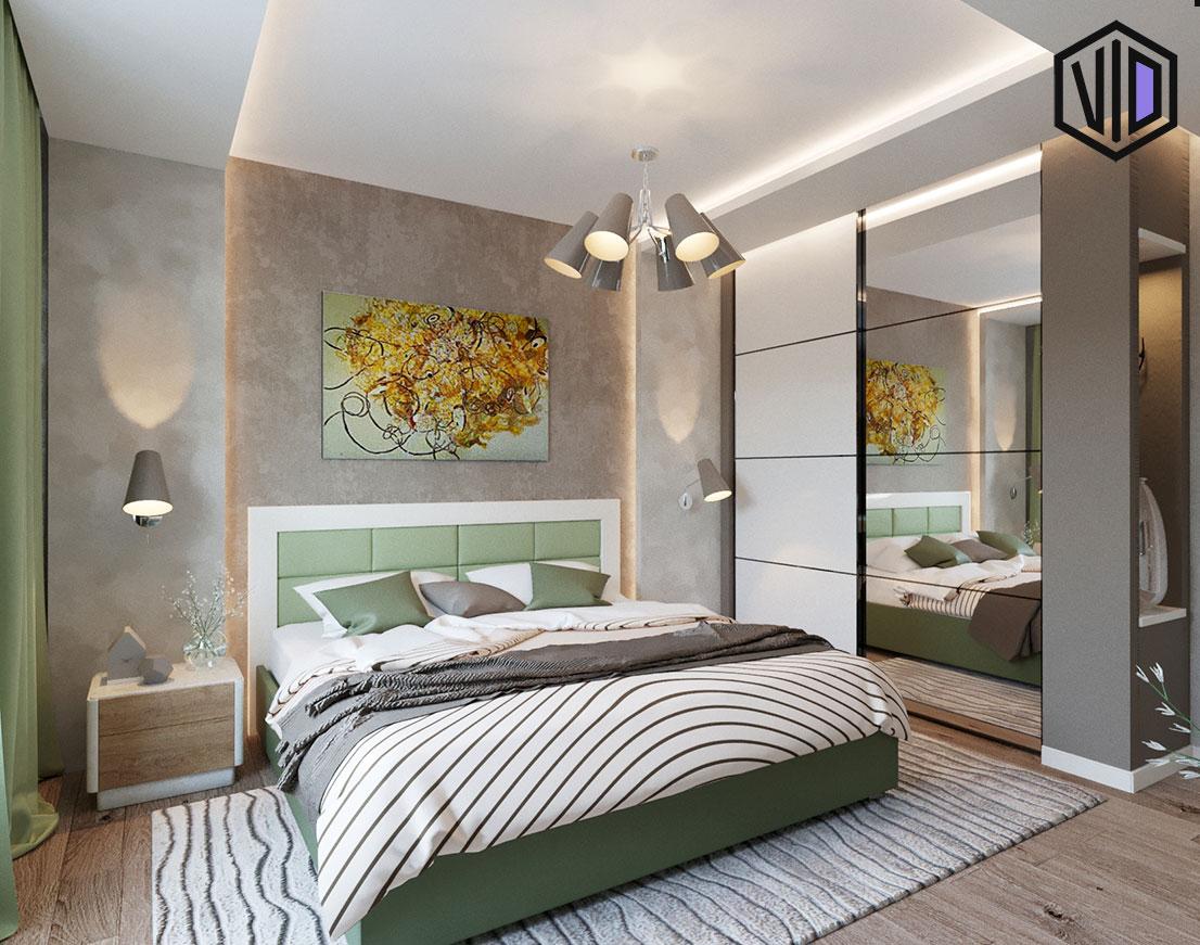 дизайн современной спальни в спокойных тонах