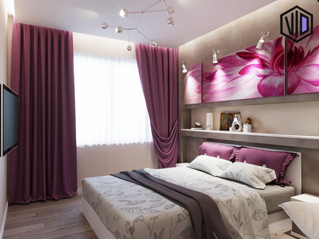 дизайн современной спальни с розовыми вставками