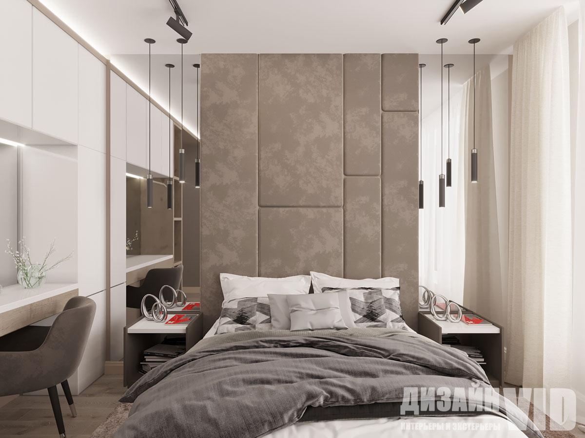мягкая обивка в интерьере спальни
