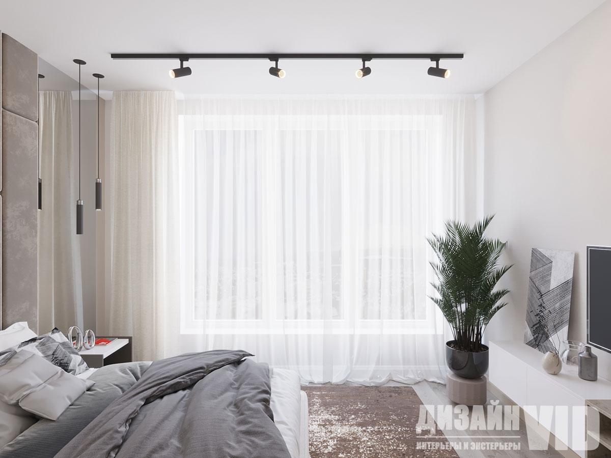 современный светлый интерьер спальни