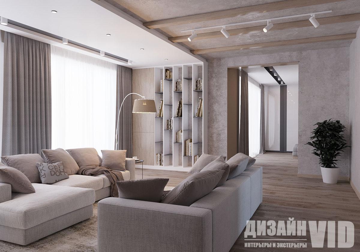 деревянные балки на потолке в гостиной