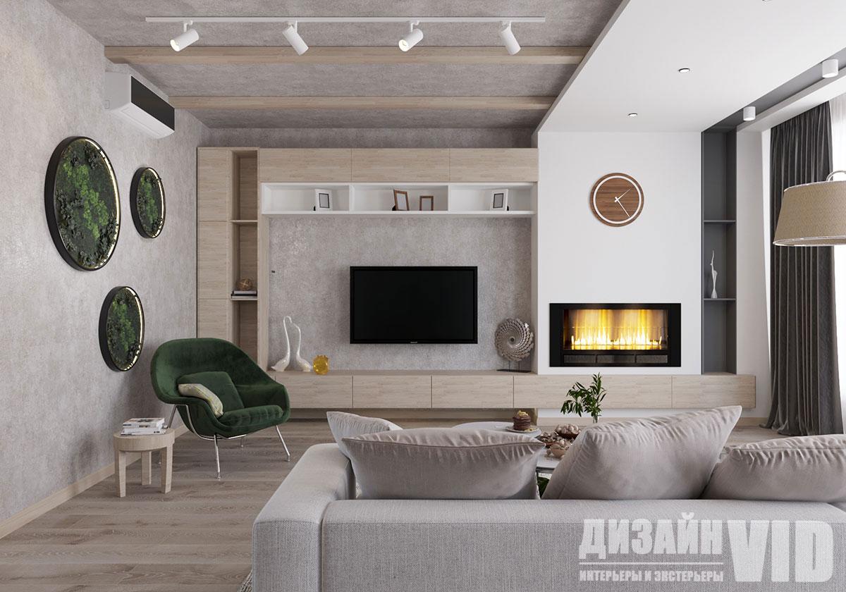 интерьер гостиной с применением экологичных материалов
