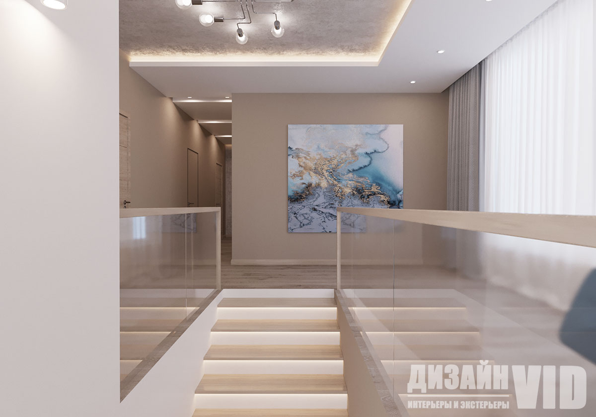 лестница с подсветкой в современном интерьере