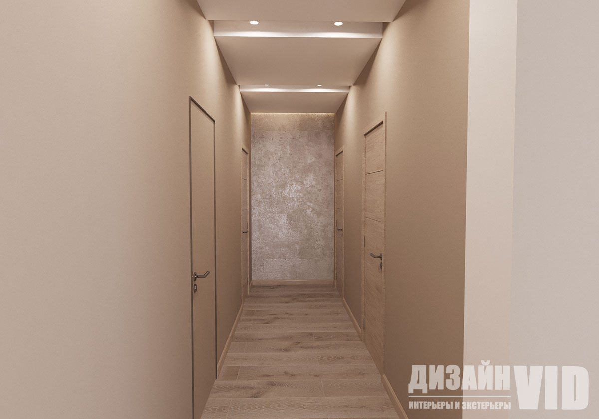 дизайн потолка длинного коридора